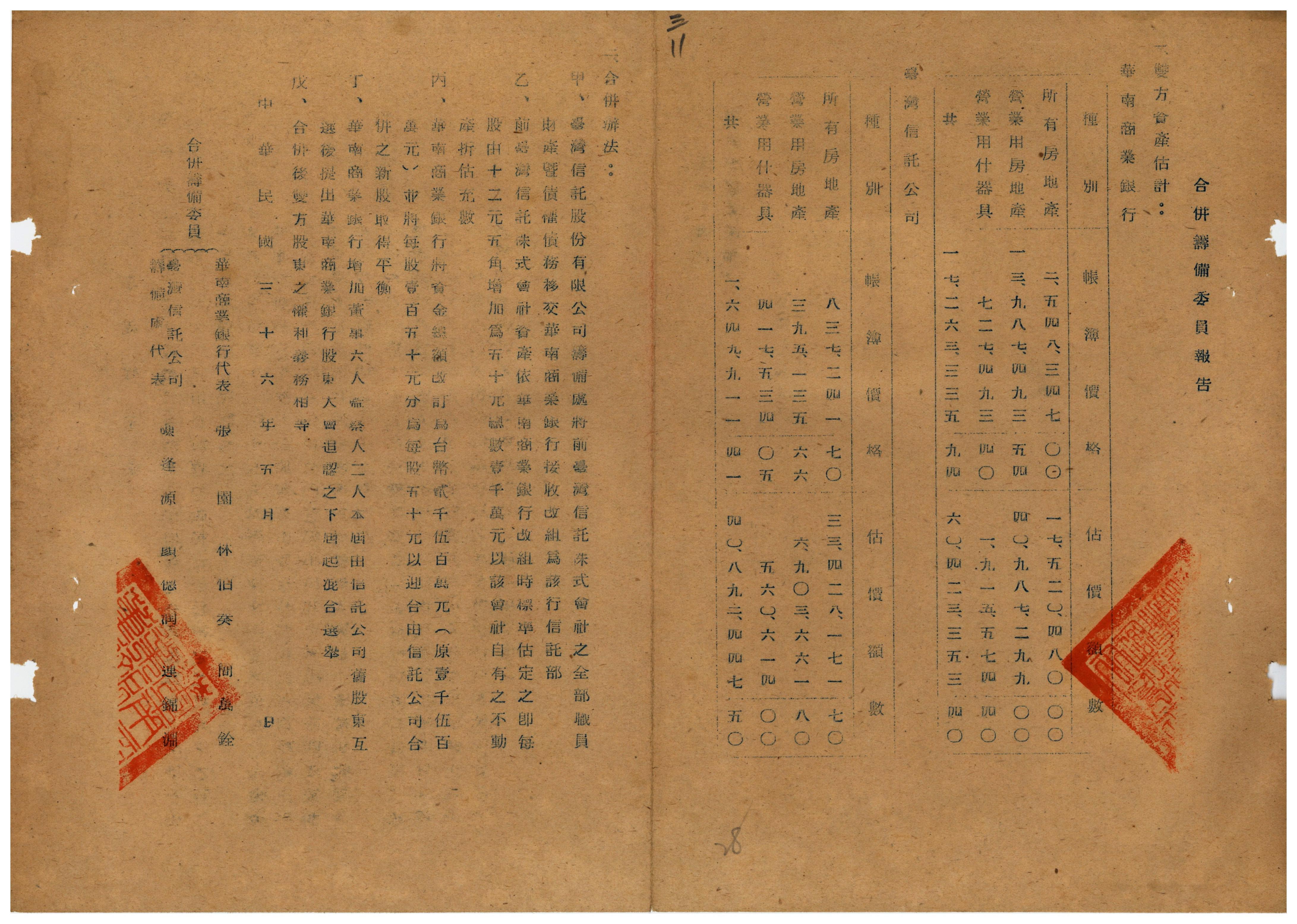 圖7:顏德潤列名的合併籌備報告(資料來源:臺灣省級機關檔案00400078003011)